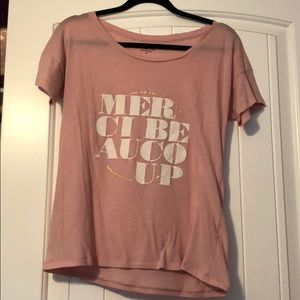 J Crew Merci Beaucoup pink t shirt
